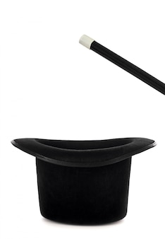 Chapeau magique avec baguette magique pour spectacle de magie