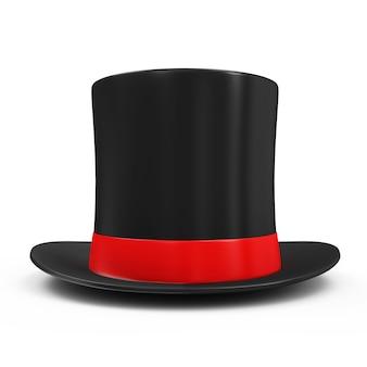 Chapeau magique avec ruban rouge isolé sur fond blanc