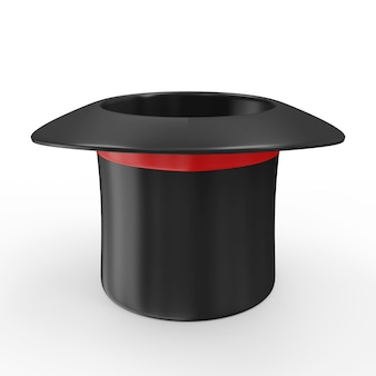 Chapeau magique vide avec ruban rouge isolé sur fond blanc