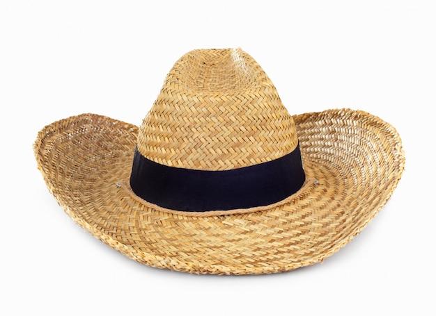 Chapeau de paille sur blanc