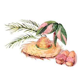 Chapeau de paille vintage aquarelle d'été avec des feuilles de palmier et des pantoufles