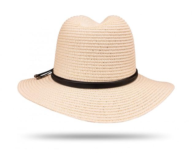 Chapeau de paille vintage avec une corde noire isolée sur fond blanc