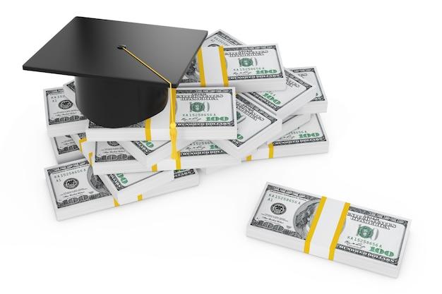 Chapeau de remise des diplômes et tas de dollars sur un fond blanc. rendu 3d.