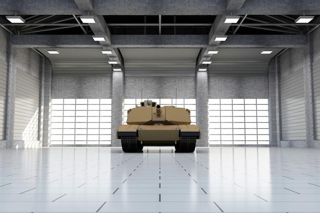 Char militaire lourd dans un hangar moderne avec de grandes fenêtres