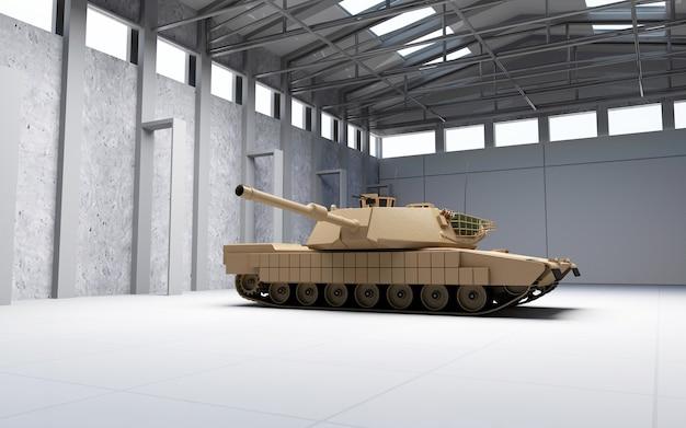 Char militaire lourd dans un hangar moderne