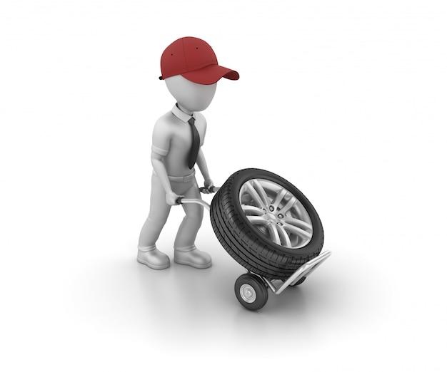 Charater de dessin animé poussant la roue de voiture