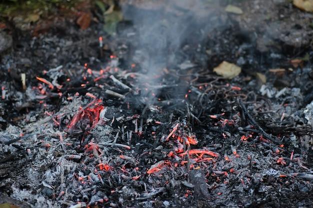 Charbon et cendres dans le feu