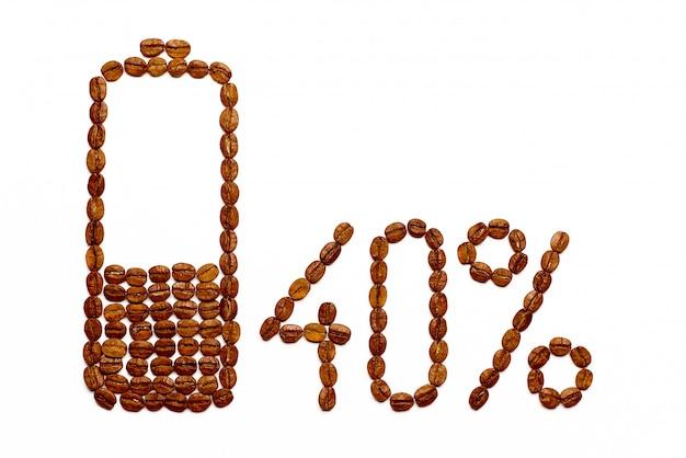 Charge de la batterie 40% de grains de café