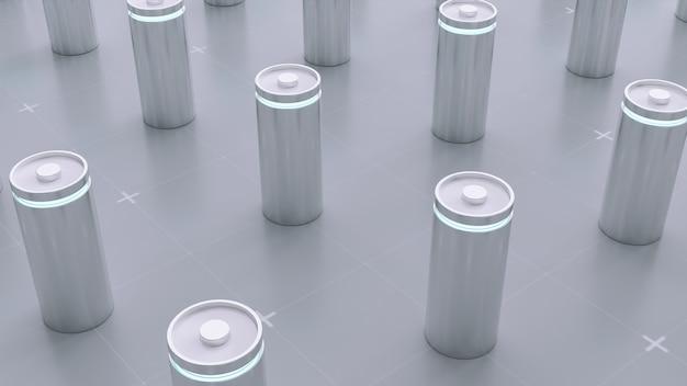 Charge de batterie au lithium-ion de rendu 3d en usine, ligne de fabrication de batteries li-ion pour le concept de véhicule électrique (ev), arrière-plan d'illustration de technologie de voiture industrielle