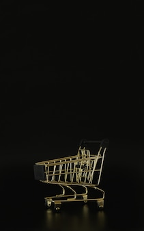 Chariot d'achat sur fond noir avec espace libre pour le texte vente et remise du vendredi noir
