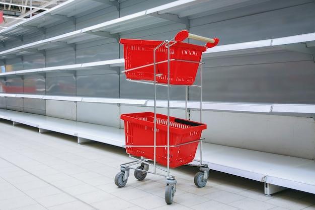 Chariot d'achat avec des paniers vides contre des étagères vides dans une épicerie