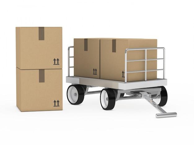 Chariot avec des boîtes en carton