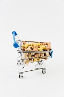 Chariot décoratif avec nourriture sèche pour animaux