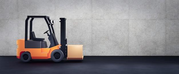 Chariot élévateur devant le mur de béton avec espace de copie, rendu 3d