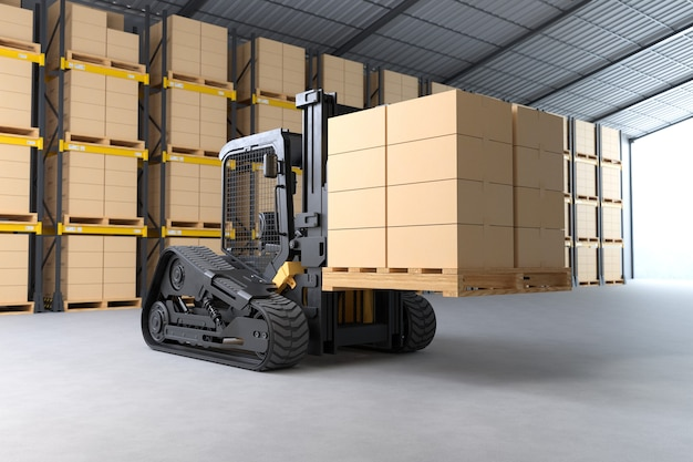 Le chariot élévateur soulève une palette avec des boîtes en carton