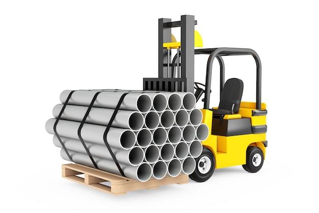 Chariot élévateur transporter pile de tuyaux métalliques sur un fond blanc. rendu 3d.