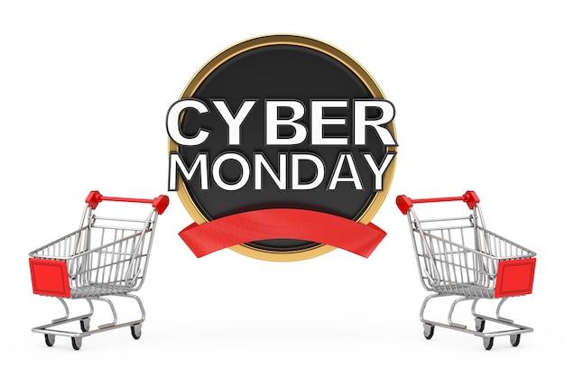 Chariot de panier d'achat avec bannière de vente cyber monday sur fond blanc. rendu 3d