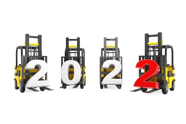 Chariots élévateurs avec signe du nouvel an 2022 sur fond blanc. rendu 3d