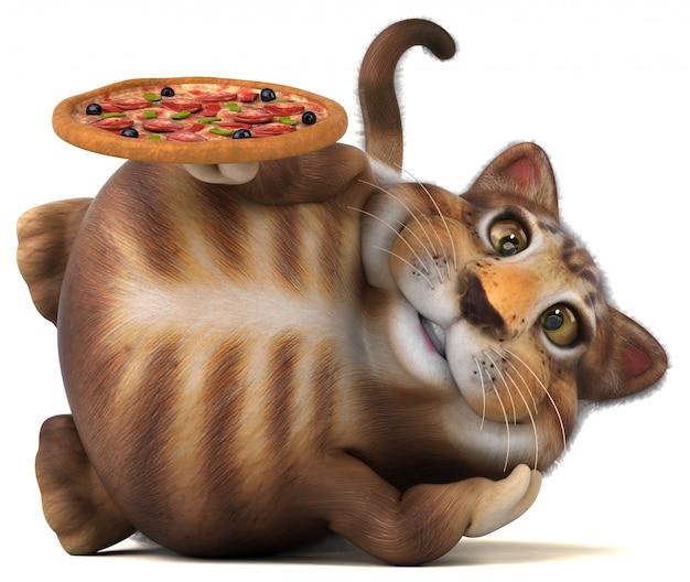 Chat amusant avec pizza