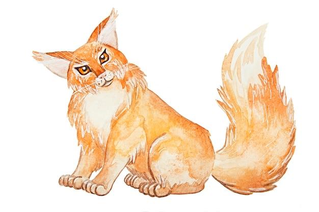 Chat aquarelle rouge mignon
