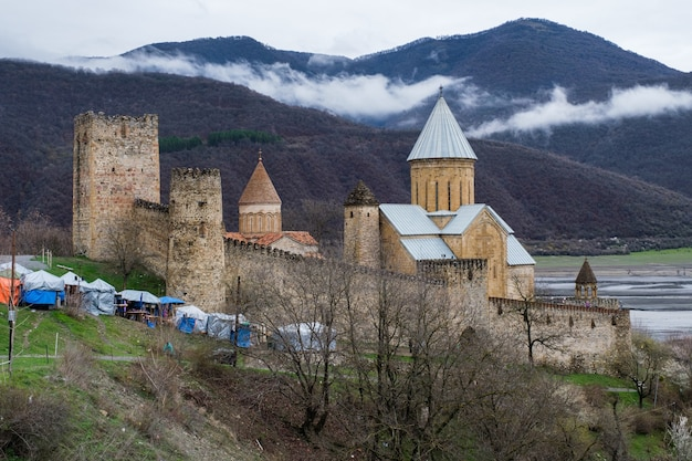 Château d'ananuri en journée ensoleillée d'hiver. géorgie