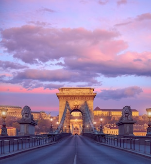 Le château de budapest et le célèbre pont des chaînes à budapest au lever du soleil