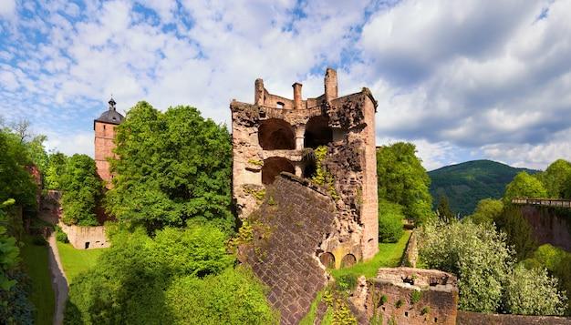 Château de heidelberg au printemps, panorama