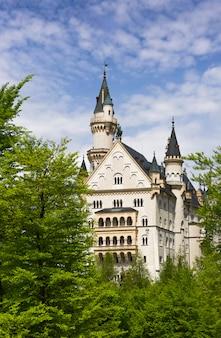 Le château de neuschwanstein est un palais néo-roman du xixe siècle situé sur une colline escarpée.