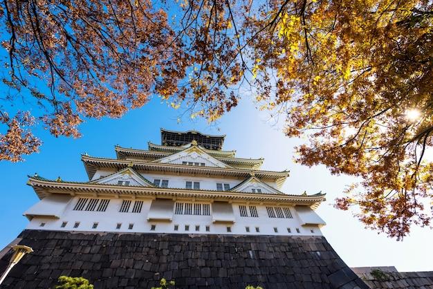 Château d'osaka avec feuille de feuillage d'automne