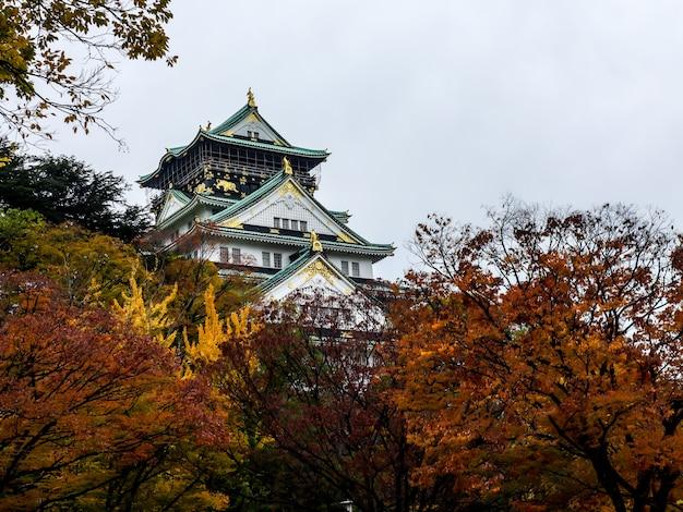 Château d'osaka parmi les arbres rouges en automne