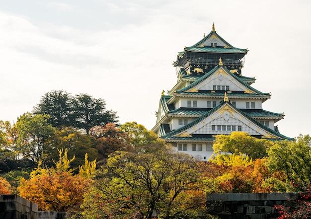 Le château d'osaka le vieux château. au japon photographie à l'automne feuilles d'automne