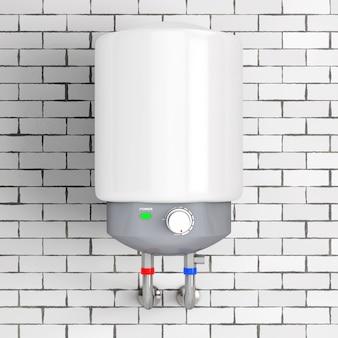 Chauffe-eau automatique moderne devant le mur de briques. rendu 3d.