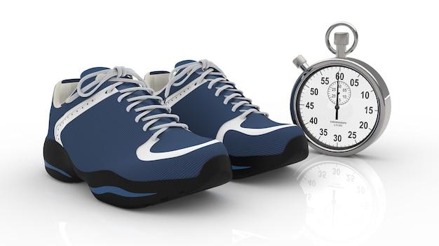Chaussures de course et chronomètre sur sol blanc