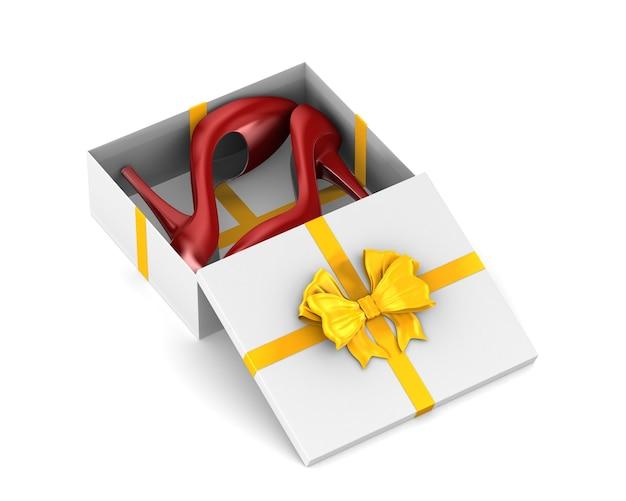 Chaussures femmes rouges dans une boîte cadeau sur un espace blanc. illustration 3d isolée