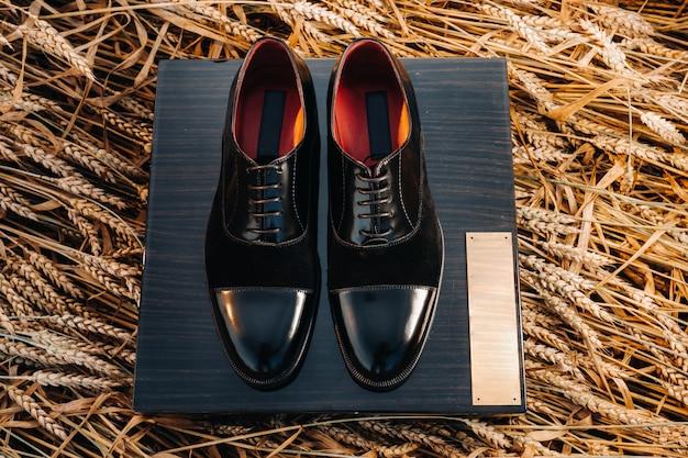 Les chaussures noires classiques pour hommes sont sur le terrain, les chaussures sont sur la boîte.