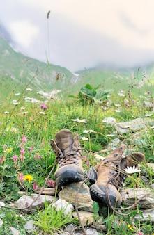 Chaussures de randonneur en herbe et fleurs
