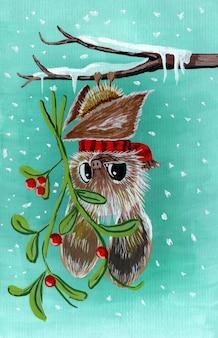 Chauve-souris une jolie chauve-souris accrochée à une branche avec un gui dans ses pattes les chauves-souris