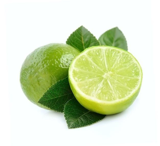 Chaux fraîche isolée. fruit de bergamote