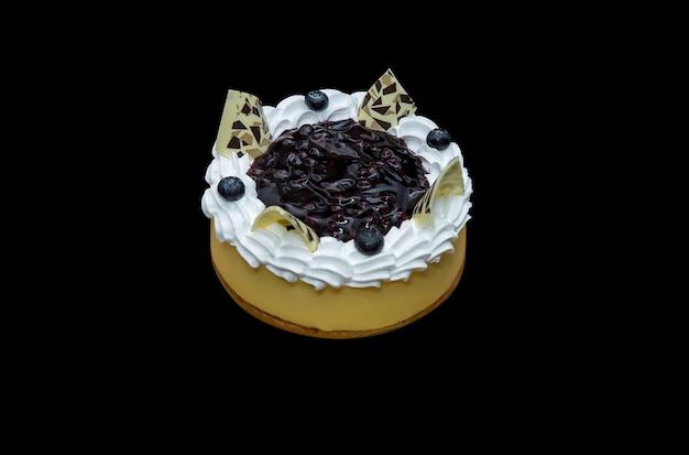 Cheesecake aux baies bleues, mise au point sélective