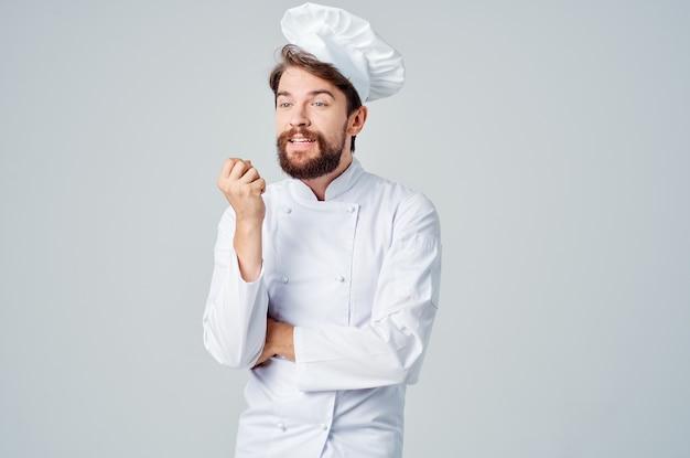 Chef cuisine travail main gestes fond isolé