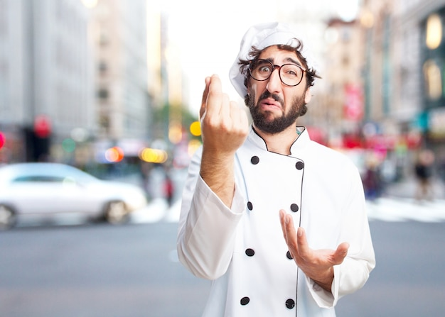 Chef cuisinier fou triste expression