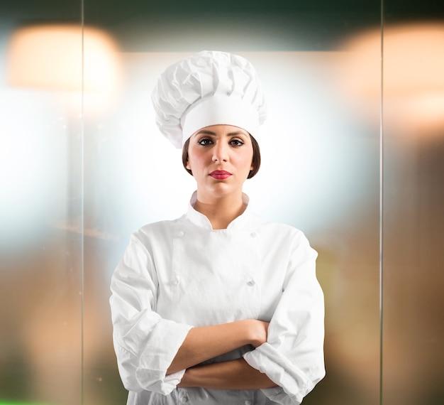 Chef de femme confiante