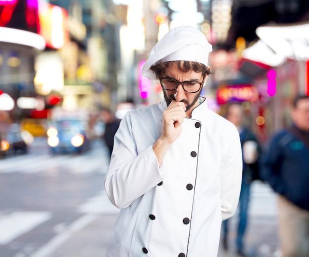 Chef fou inquiet expression