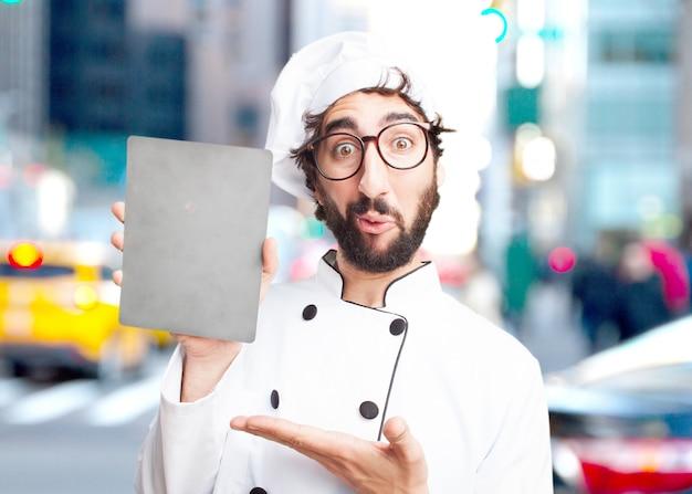 Chef fou surpris expression