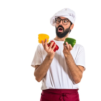 Chef, poivres colorés
