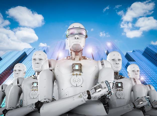 Chef de robot android rendu 3d avec équipe