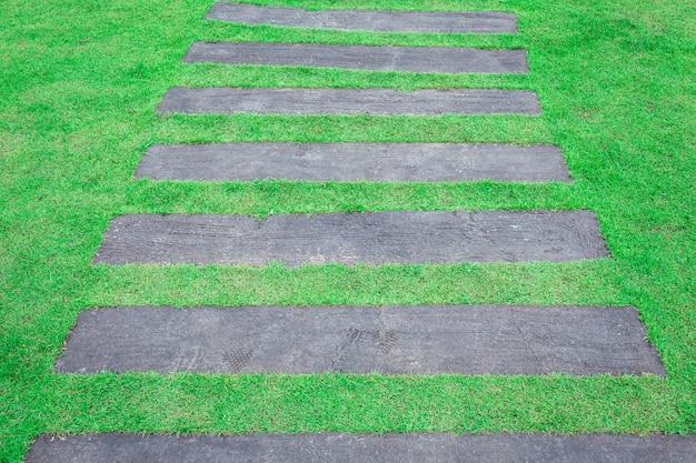 Chemin en bois dans le jardin d'herbe