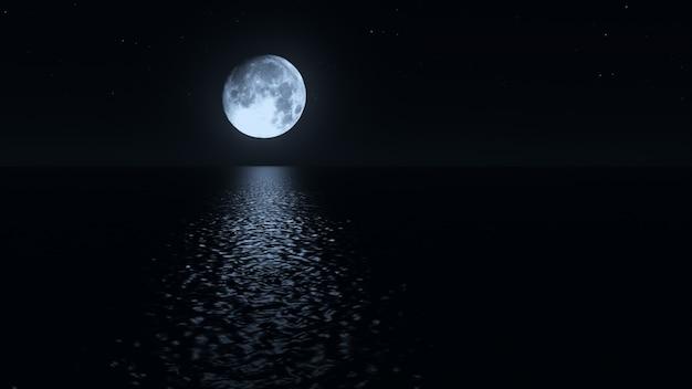 Chemin de clair de lune avec faible lune idiote au-dessus de la mer illustration 3d réaliste