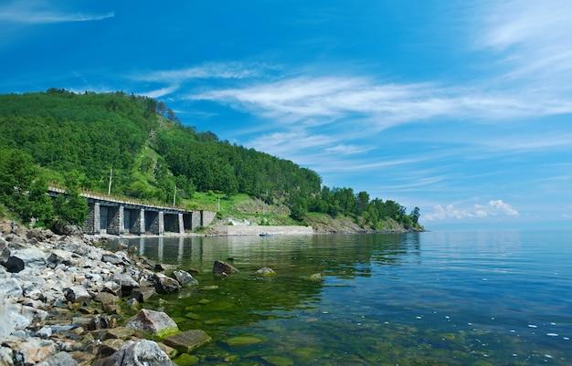 Chemin de fer circum baikal sur la côte du lac baïkal