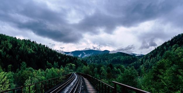 Chemin de fer dans les montagnes avec ciel nuageux, panorama